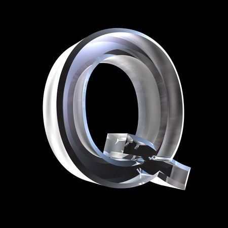 letter Q in glass 3D Stock Photo - 6185353