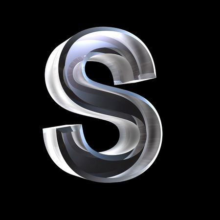 3d letters: letter S in glass 3D
