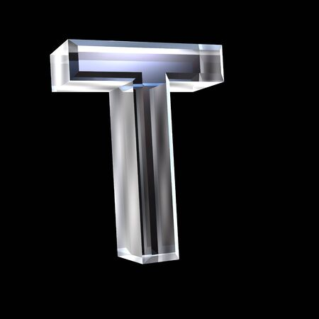 letter T in glass 3D Stock Photo - 6185370