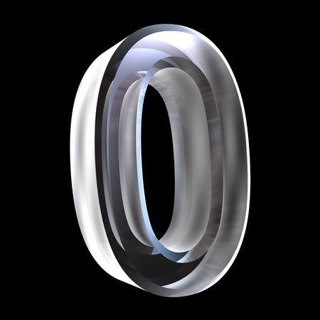 3d number 0 (zero) in glass
