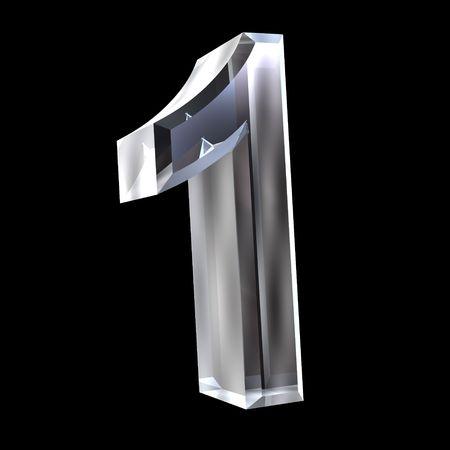 numero uno: 3D n�mero 1 (uno) en vidrio