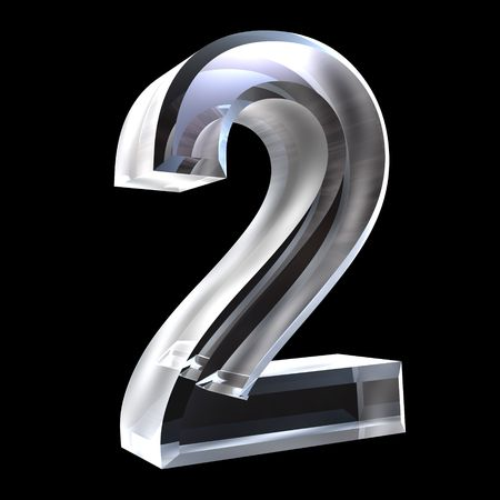 number 2: 3d number 2 (two)  in glass Stock Photo