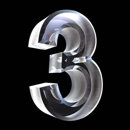 number three: 3d number 3 (three) in glass Stock Photo