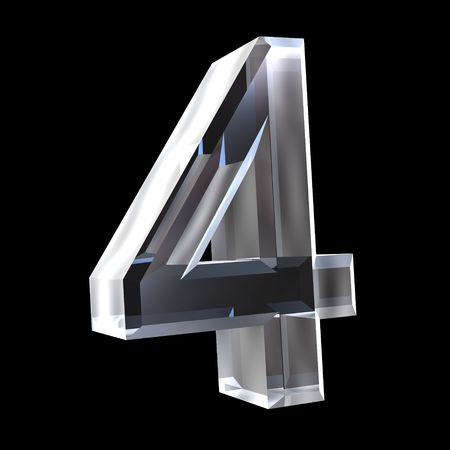 number four: 3d number 4 (four) in glass