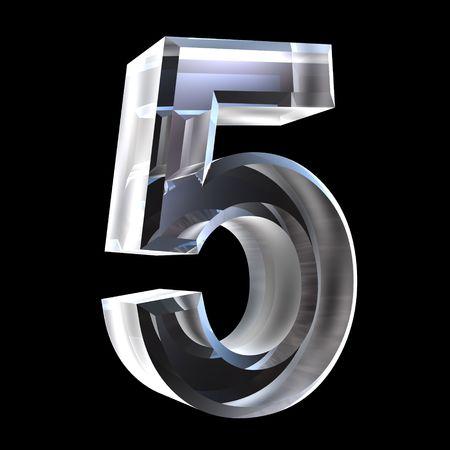 3D Nummer 5 (fünf) in Glas Standard-Bild - 6456024