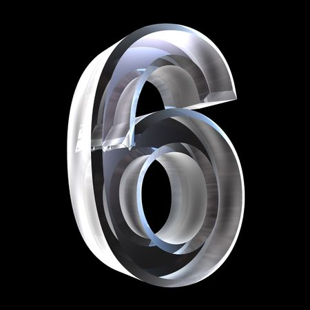 3d number 6 (six) in glass Stock Photo