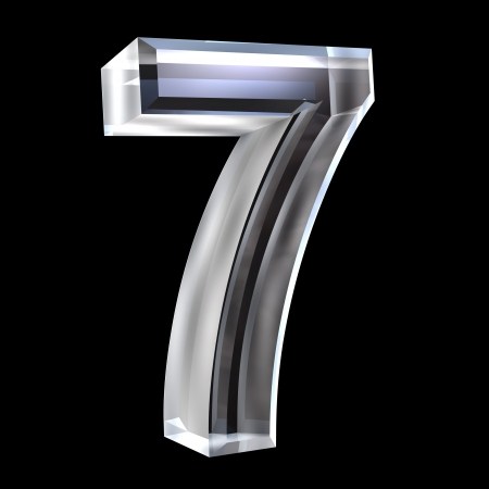 3d number 7 (seven) in glass