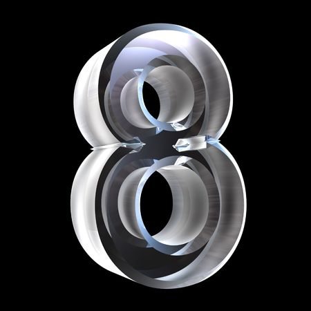 3d number 8 (eight) in glass