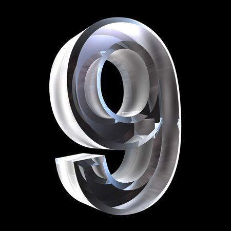 3d number 9 (nine) in glass photo