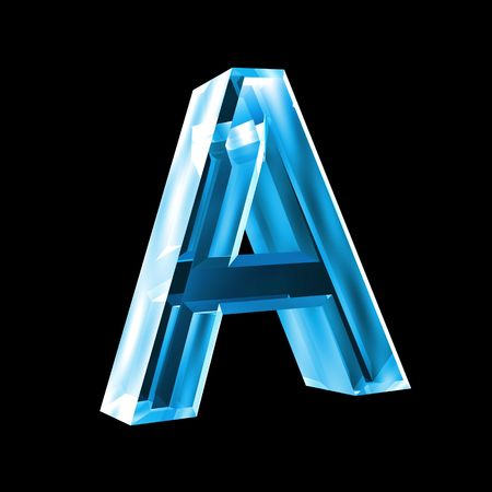 3d letters: letter A in blue glass 3D Stock Photo