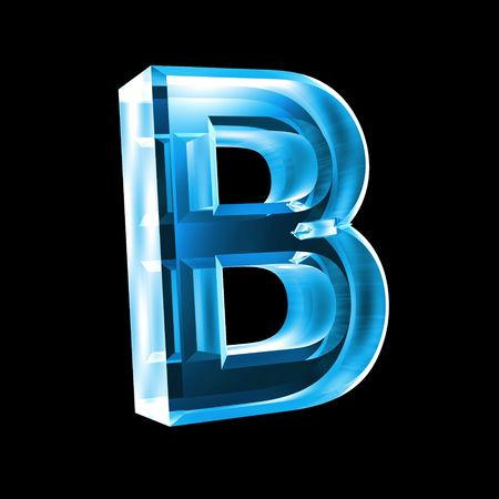letter B in blue glass 3D Stock Photo - 6456029