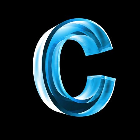 letter C in blue glass 3D Stock Photo - 6456041