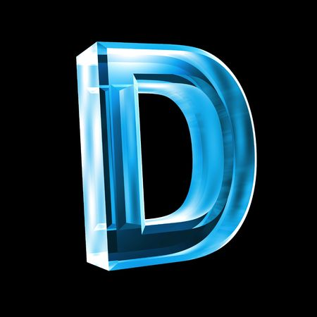 letter D in blue glass 3D Stock Photo - 6456034