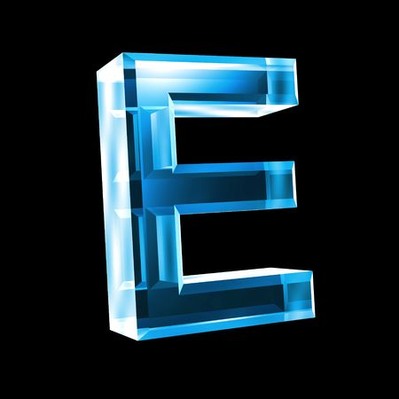 reading glass: letter E in blue glass 3D Stock Photo
