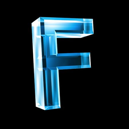 types of glasses: letter F in blue glass 3D