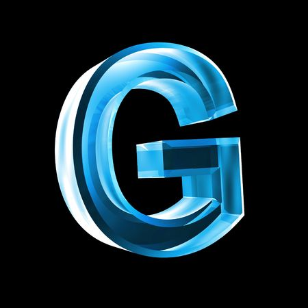 letter G in blue glass 3D Stock Photo - 6456026