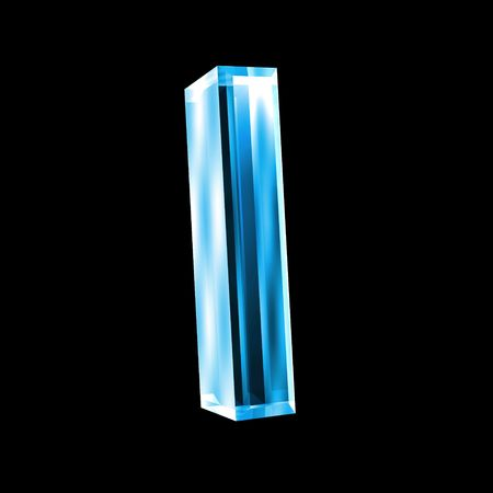 3d letters: letter I in blue glass 3D Stock Photo