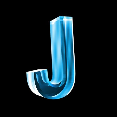 reading glass: letter J in blue glass 3D