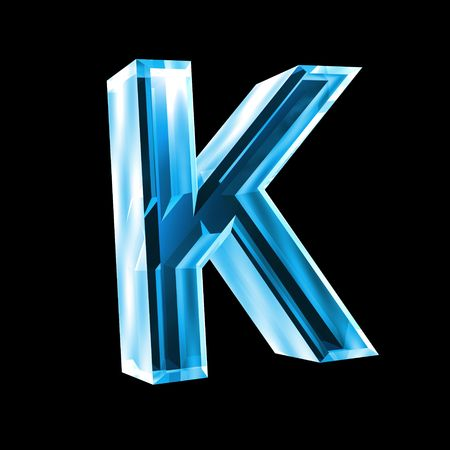 letter K in blue glass 3D photo