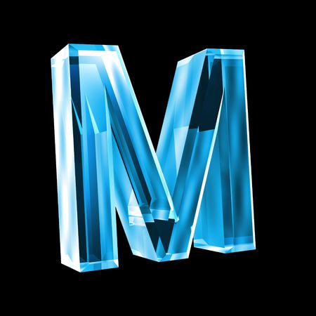 types of glasses: letter M in blue glass 3D