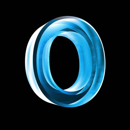 types of glasses: letter O in blue glass 3D Stock Photo