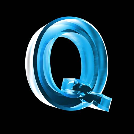 letter Q in blue glass 3D Stock Photo - 6456053