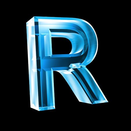 letter R in blue glass 3D
