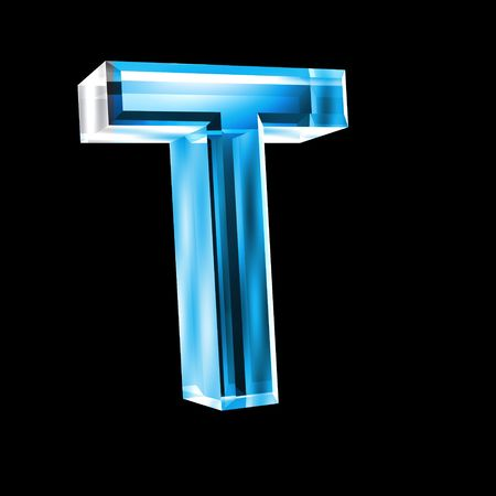 letter T in blue glass 3D Stock Photo - 6456045