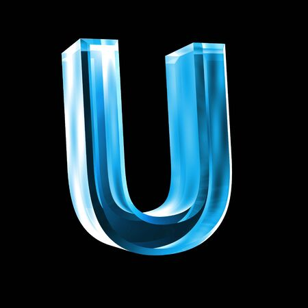 types of glasses: letter U in blue glass 3D Stock Photo