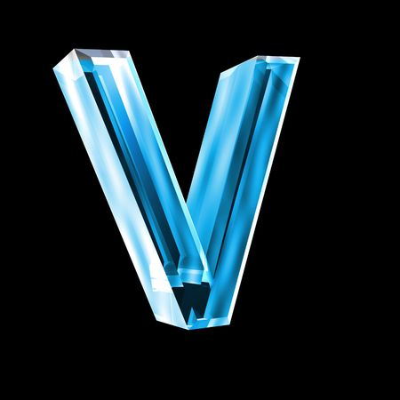 3d letters: letter V in blue glass 3D