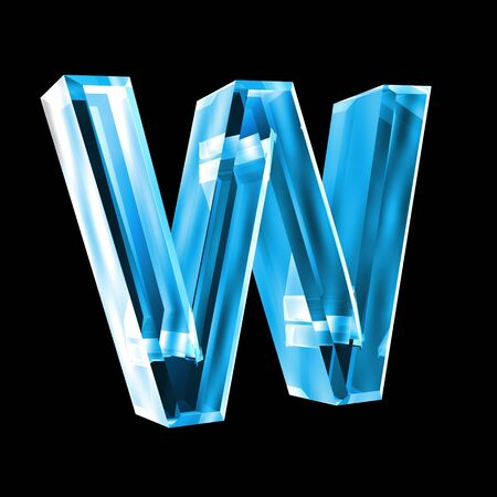 letter W in blue glass 3D photo