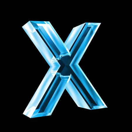 letter x in blue glass 3D Stock Photo - 6456042