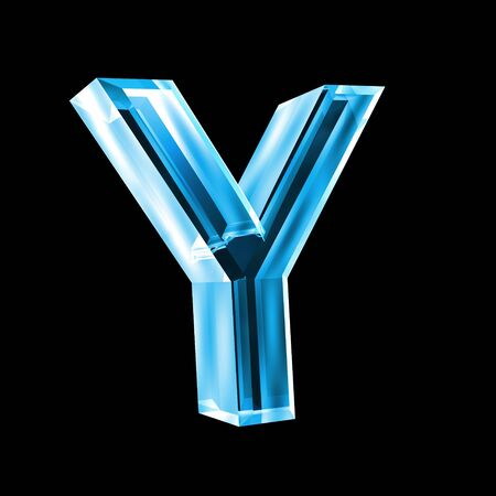 letter Y in blue glass 3D photo
