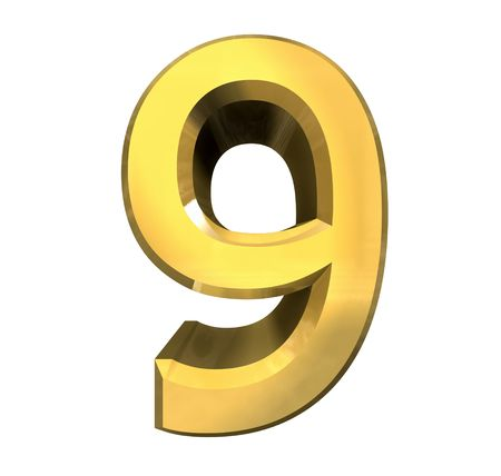 3d number 9 in gold Stock Photo