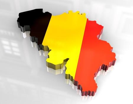 3D Fahne-Karte von Belgien  Standard-Bild - 6898687