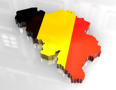 belgian: 3d flag map of belgium