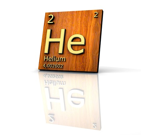 Helium form Periodic Table of Elements - wood board  photo