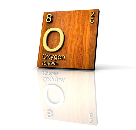 Oxygen form Periodic Table of Elements - wood board Stock Photo - 6917916