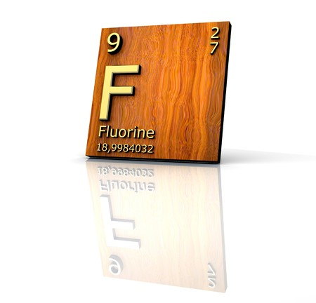 fluorine form Periodic Table of Elements - wood board  photo