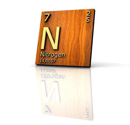 periodic element: Nitrogen form Periodic Table of Elements - wood board  Stock Photo