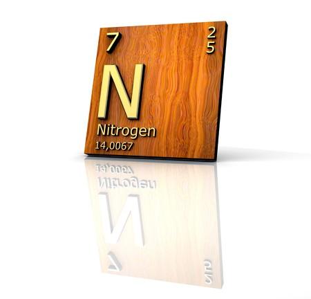 3d nitrogen: Nitrogen form Periodic Table of Elements - wood board  Stock Photo