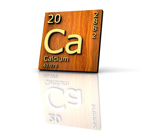 periodic: Calcium form Periodic Table of Elements - wood board