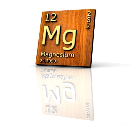 Magnesium form Periodic Table of Elements - wood board  Stock Photo
