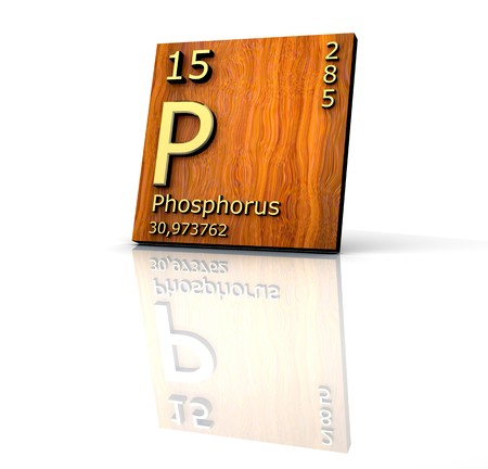 periodic: Phosphorus form Periodic Table of Elements - wood board  Stock Photo