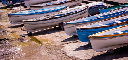 Boats in a row, Capry, south of Italy photo