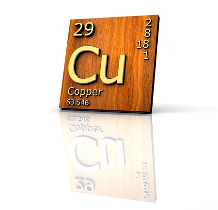 Copper form Periodic Table of Elements  - wood board - 3d made Stock Photo - 6973632