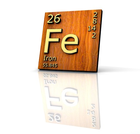 periodic element: Iron form Periodic Table of Elements  - wood board - 3d made Stock Photo