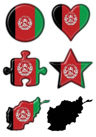 afghanistan button flag round shape set - 3d made photo