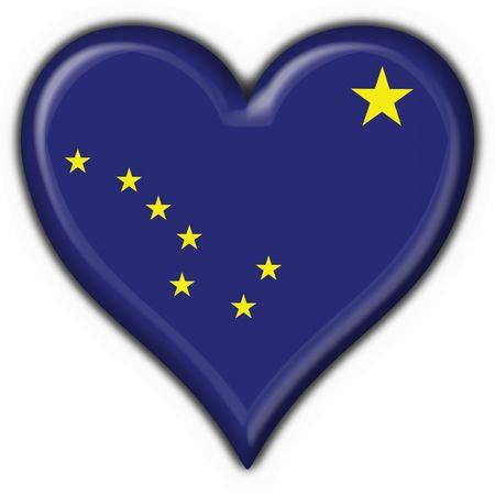 Alaska (USA State) button flag heart shape - 3d made photo