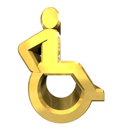 Universal wheelchair symbol in gold (3d made) Stock Photo - 7172638